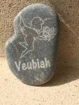 ange gardien Veubiah galet Méditerranée naturel gravé