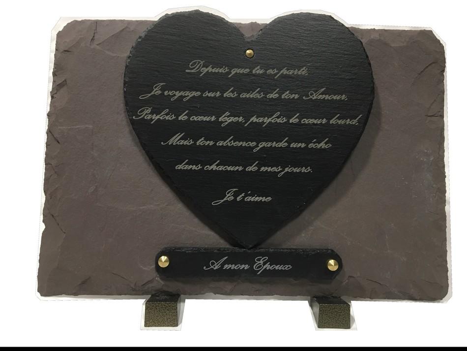 ardoise funéraire gravée personnalisée coeur découpé