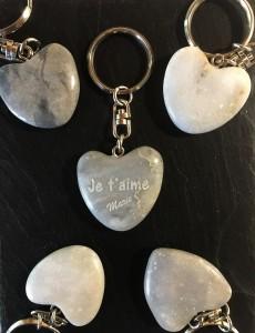 galet gravé à personnaliser je t'aime porte-clés St Valentin mariage