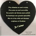 ardoise cœur gravée St Valentin à personnaliser nos chemins se sont croisés