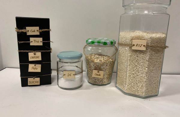 Etiquettes bois recyclé aliments vrac