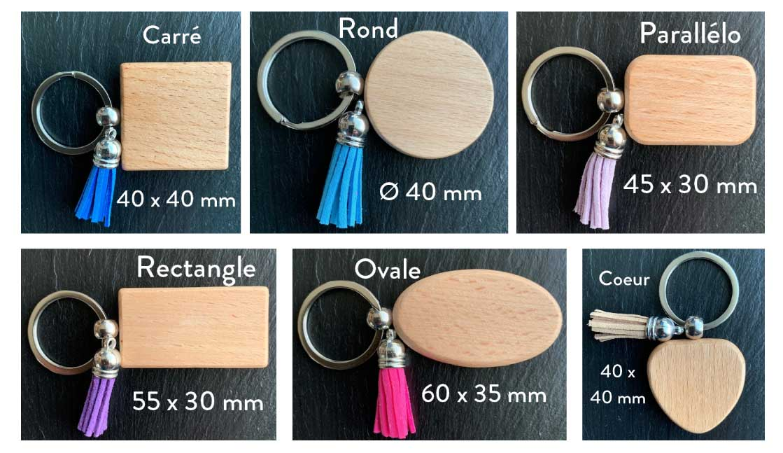porte-clés chics formes carré, rond, parallélo, rectangle, ovale ou coeur